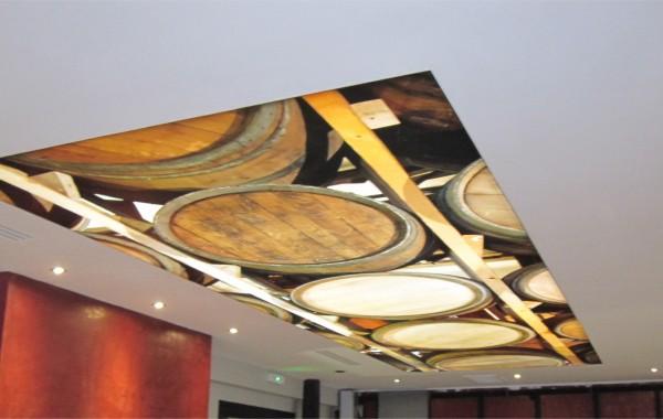 Décor intérieur toile tendue plafond éclairé par leds